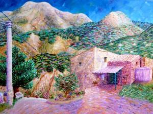 A Casa della Nonna Oil Pastels on Paper © Alexx 2011